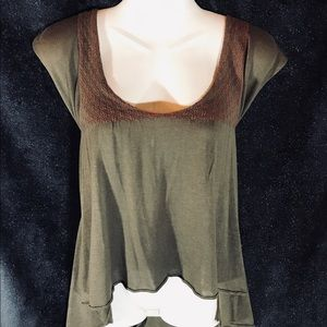 Free People Grey Green Tunic w Double Tie Back,Lrg